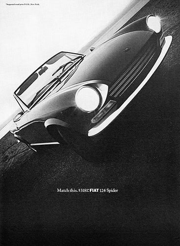 Fiat Car Poster, 1968 Fiat 124 Spider, Vintage Ad Wall Art