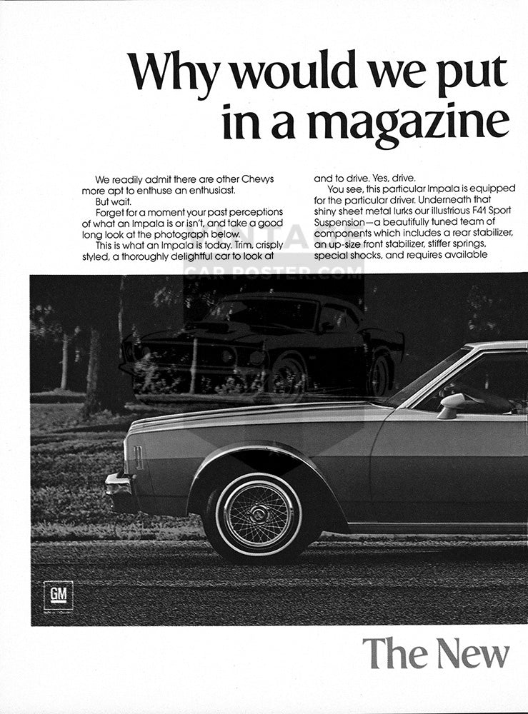 Chevrolet Car Poster, 1977 Chevrolet Impala Coupe , Vintage Ad Wall Art