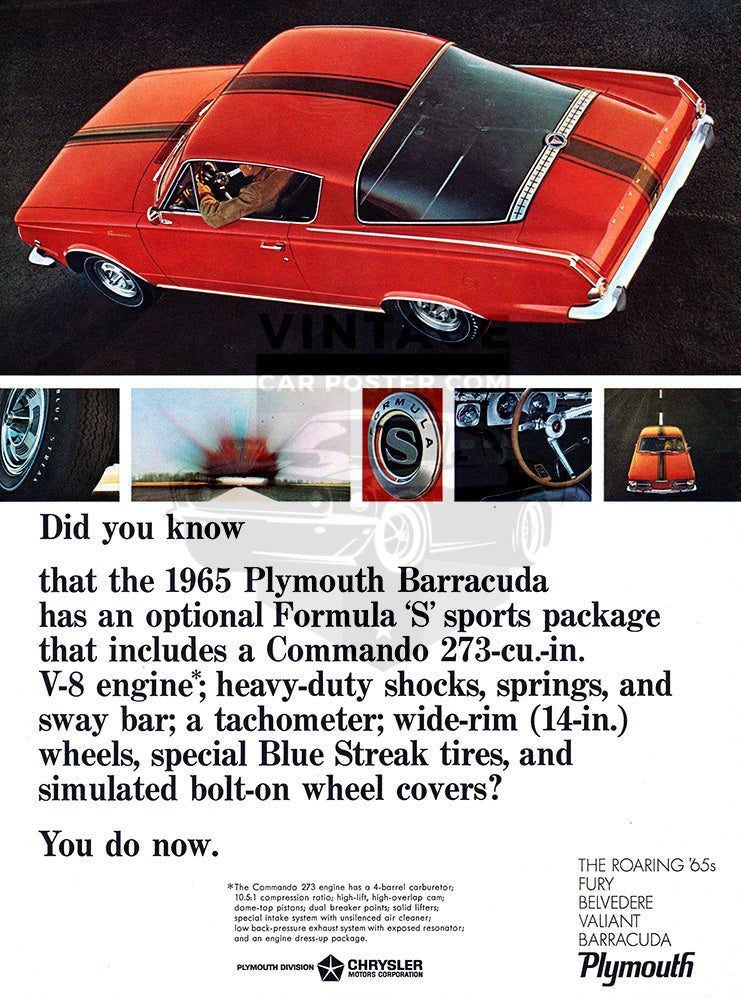 1965 Plymouth Chrysler Barracuda Formula S     #100681