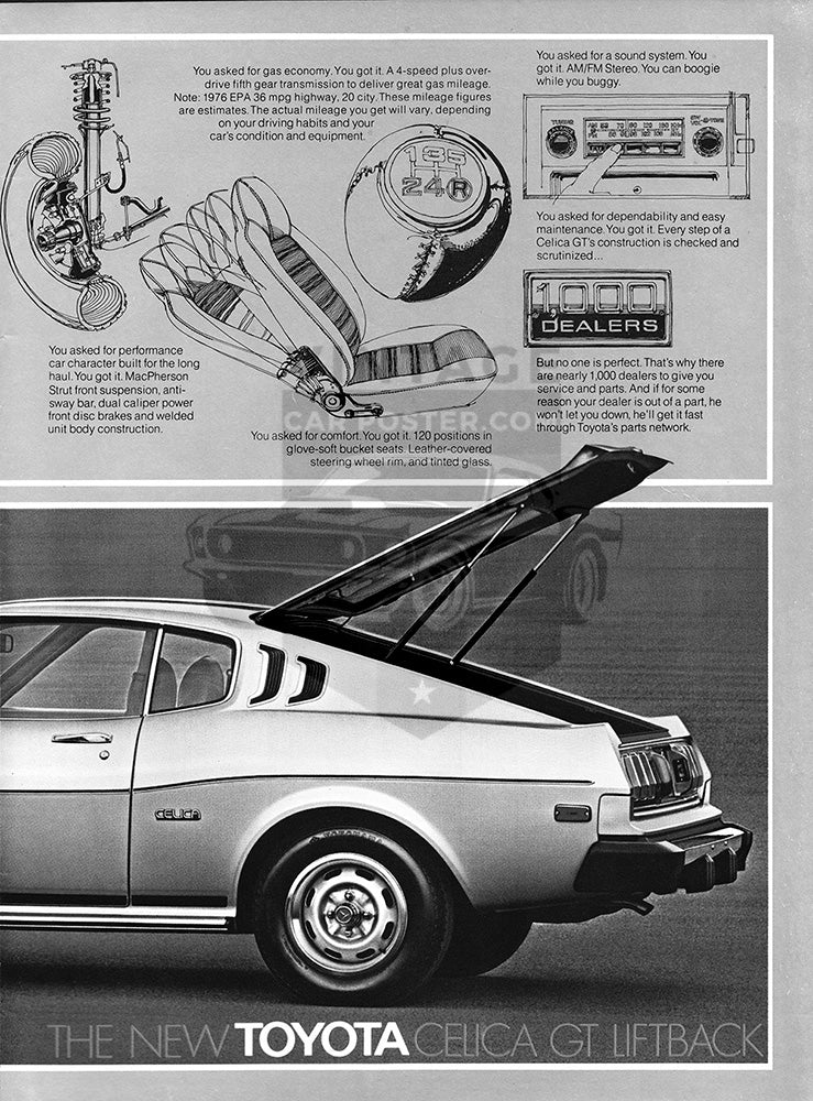 Toyota Car Poster, 1976 Toyota Celica GT Liftback , Vintage Ad Wall Art