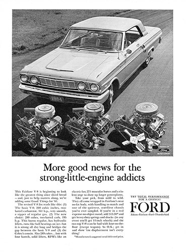 Ford Car Poster, 1963 Ford Fairlane V8, Vintage Ad Wall Art