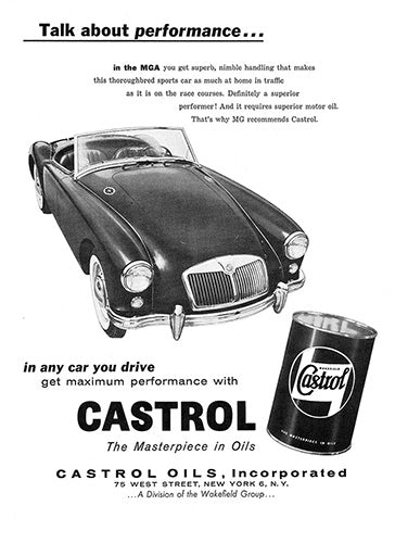 MG Car Poster, 1958 Castrol Oil MG MGA, Vintage Ad Wall Art