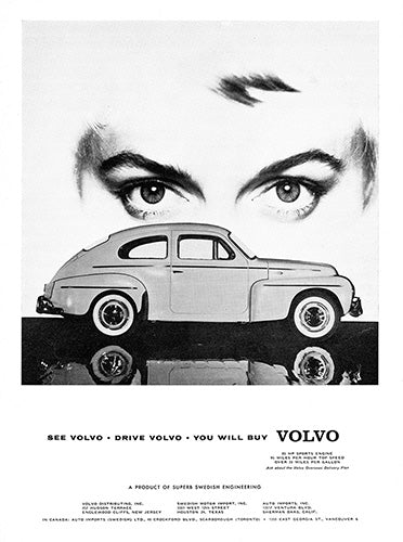 Volvo Car Poster, 1958 Volvo Coupe, Vintage Ad Wall Art