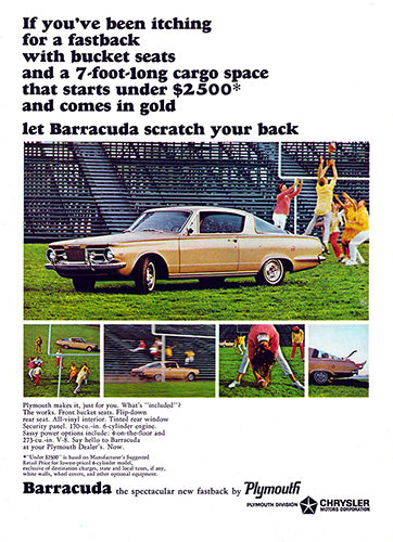 Plymouth Car Poster, 1964 Plymouth Chrysler Barracuda, Vintage Ad Wall Art
