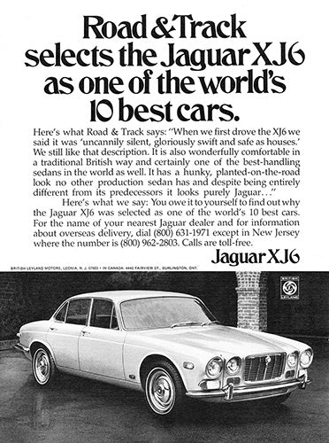 Jaguar Car Poster, 1971 Jaguar XJ6, Vintage Ad Wall Art
