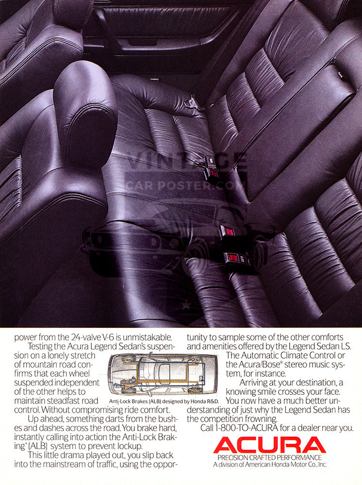 Acura Car Poster, 1987 Acura Legend , Vintage Ad Wall Art