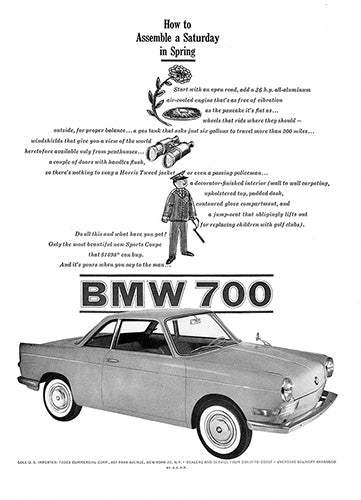 BMW Car Poster, 1960 BMW 700, Vintage Ad Wall Art
