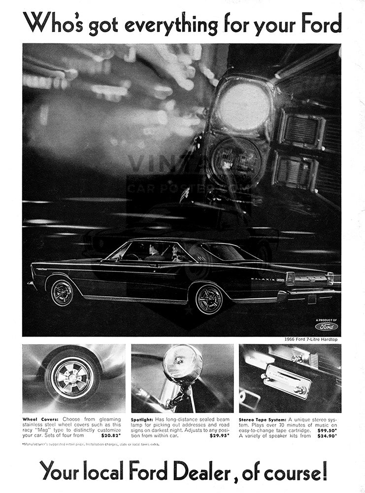 Ford Car Poster, 1966 Ford Galaxie 500, Vintage Ad Wall Art