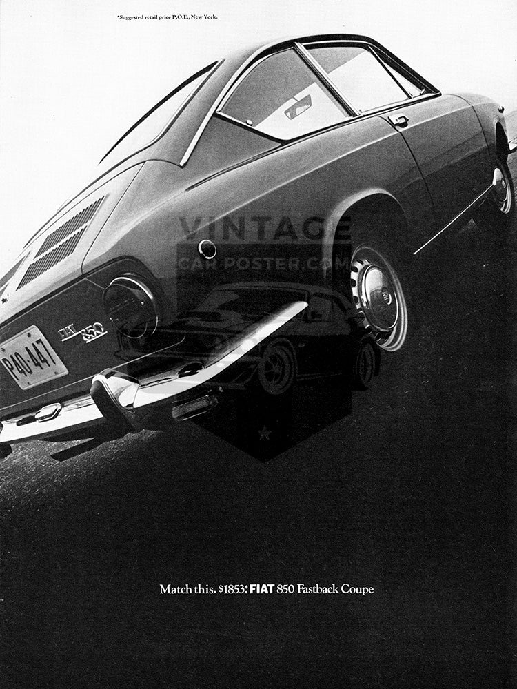 Fiat Car Poster, 1968 Fiat 850 Fastback Coupe, Vintage Ad Wall Art