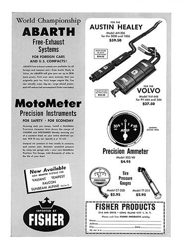 Abarth Car Poster, 1962 Abarth Exhaust, Vintage Ad Wall Art