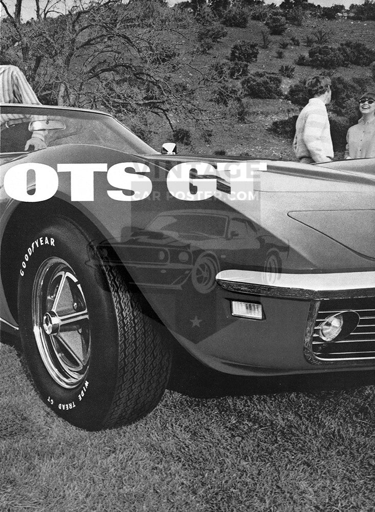 Chevrolet Car Poster, 1968 Goodyear Tires Wide Boots GT Chevrolet Corvette, Vintage Ad Wall Art