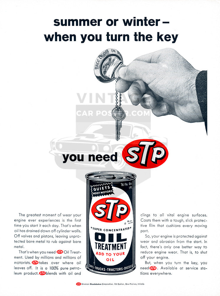 STP Car Poster, 1966 STP Oil, Vintage Ad Wall Art