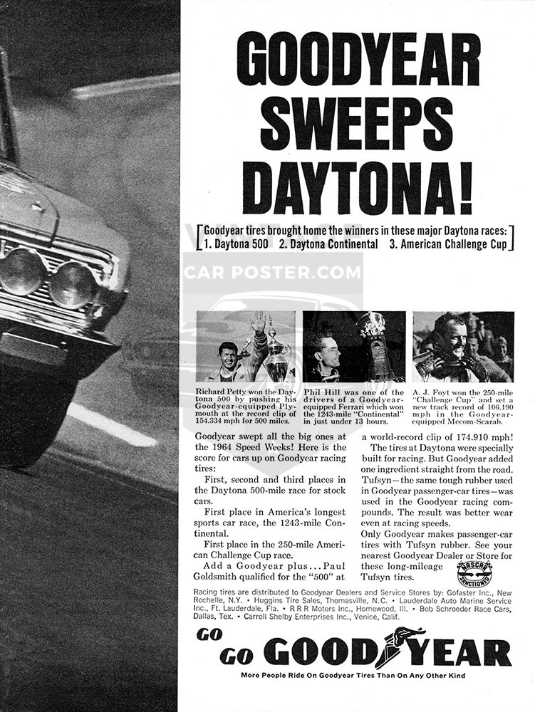 Goodyear Car Poster, 1964 Goodyear Tires Daytona 500 , Vintage Ad Wall Art