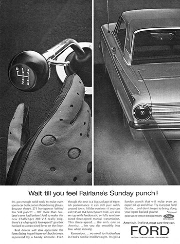 Ford Car Poster, 1963 Ford Fairlane, Vintage Ad Wall Art