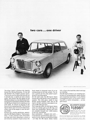 MG Car Poster, 1963 MG Sports Sedan, Vintage Ad Wall Art