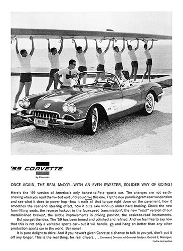 Chevrolet Car Poster, 1959 Chevrolet Corvette, Vintage Ad Wall Art