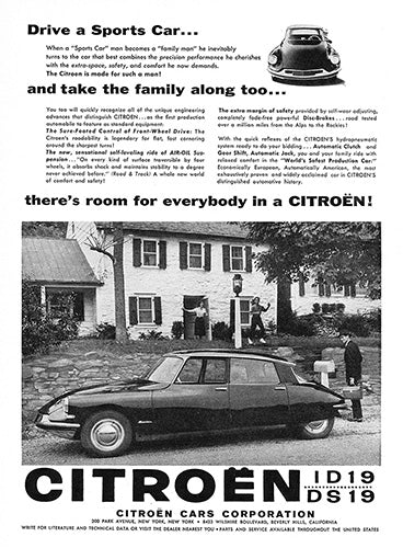 Citroen Car Poster, 1958 Citroen ID19 DS19, Vintage Ad Wall Art