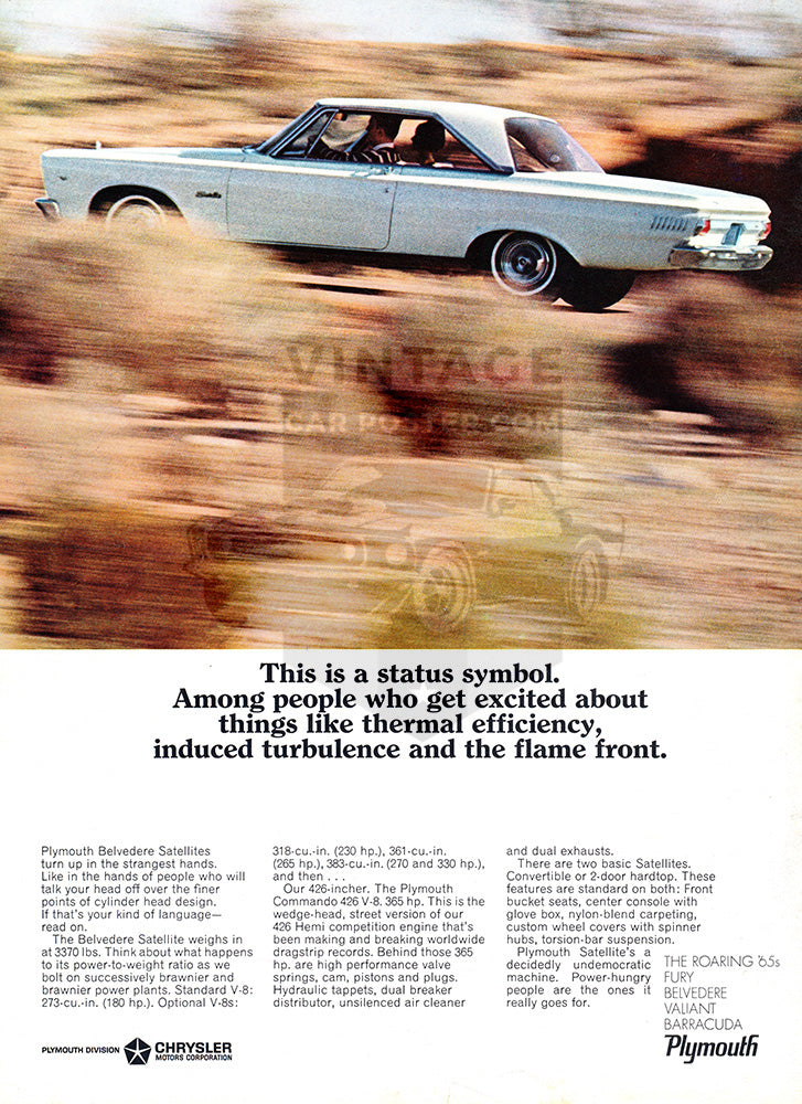 1965 Plymouth Chrysler Belvedere Satellite     #100683