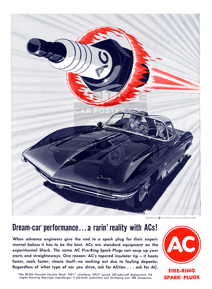 AC Car Poster, 1963 AC Spark Plugs Corvette, Vintage Ad Wall Art