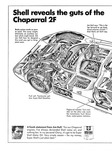Chaparral Car Poster, 1967 Shell Oil Chaparral 2F , Vintage Ad Wall Art