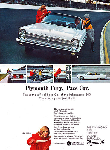 Plymouth Car Poster, 1965 Plymouth Chrysler Fury, Vintage Ad Wall Art