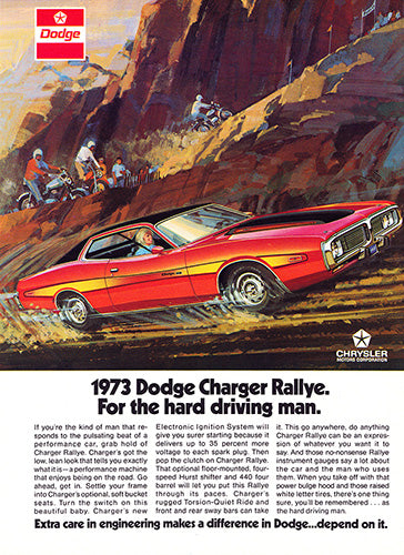 Dodge Car Poster, 1973 Dodge Charger Rallye, Vintage Ad Wall Art