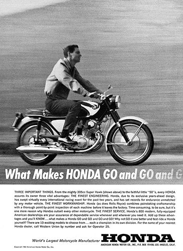 1963 Honda Motorcycle 305cc Super Hawk     #100340