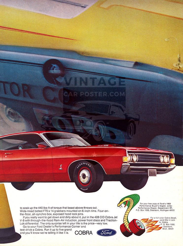 Ford Car Poster, 1969 Ford Torino GT Cobra , Vintage Ad Wall Art
