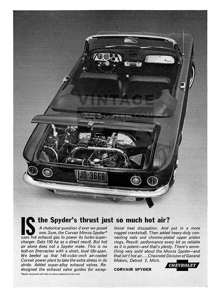 Chevrolet Car Poster, 1963 Chevrolet Corvair Spyder, Vintage Ad Wall Art