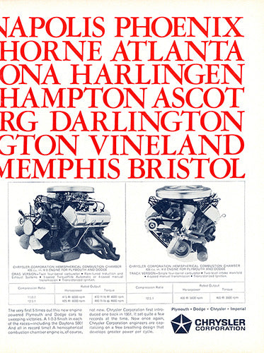 Chrysler Car Poster, 1964 Chrysler Hemi 426 Daytona 500 , Vintage Ad Wall Art