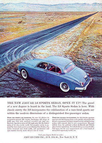 Jaguar Car Poster, 1960 Jaguar 3.8 Sports Sedan, Vintage Ad Wall Art