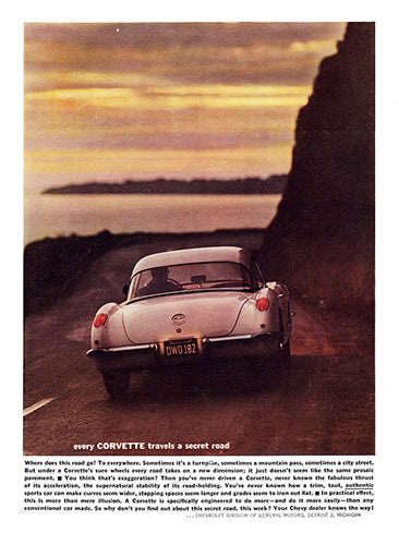Chevrolet Car Poster, 1960 Chevrolet Corvette, Vintage Ad Wall Art