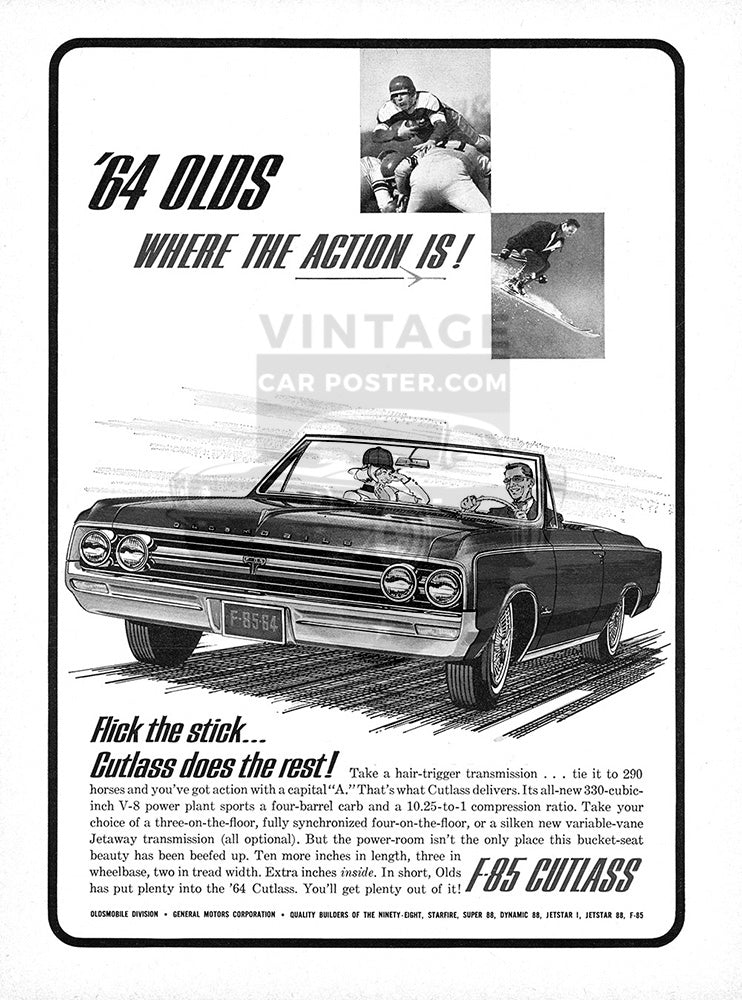 Oldsmobile Car Poster, 1964 Oldsmobile Cutlass, Vintage Ad Wall Art