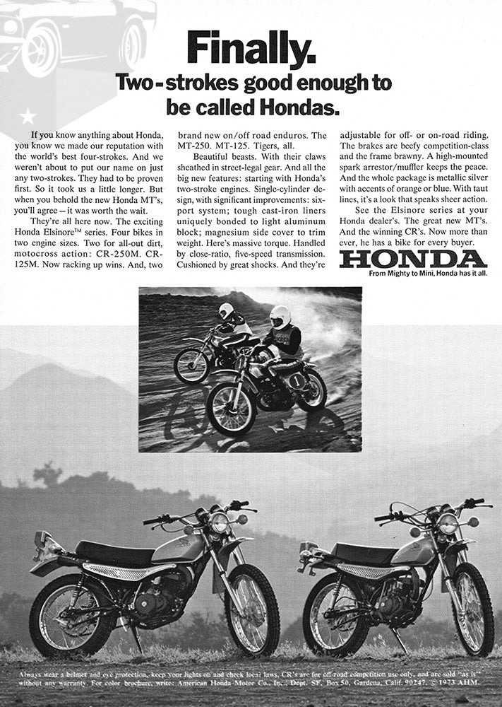1973 Honda Motorcycle CR-250M CR-125M MT-250 MT-125 #101889