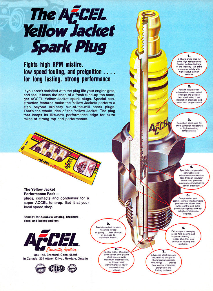 Accel Car Poster, 1973 Accel Yellow Jacket Spark Plugs, Vintage Ad Wall Art