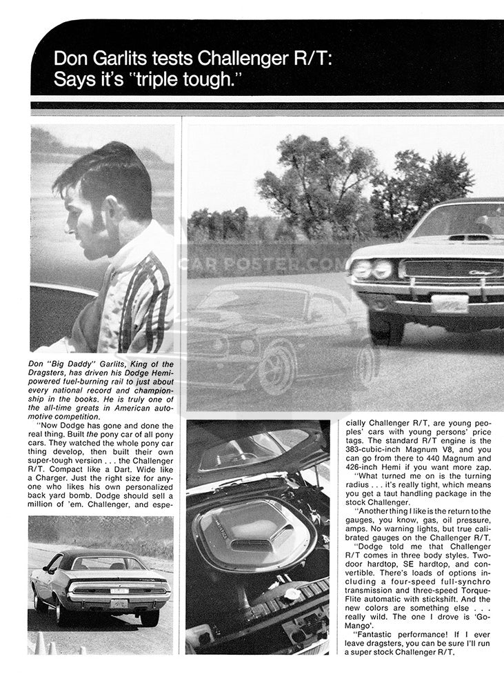 Dodge Car Poster, 1970 Dodge Challenger RT , Vintage Ad Wall Art