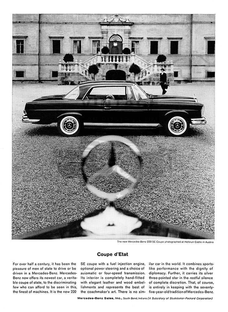 Mercedes Car Poster, 1962 Mercedes Benz 220 SE Coupe, Vintage Ad Wall Art