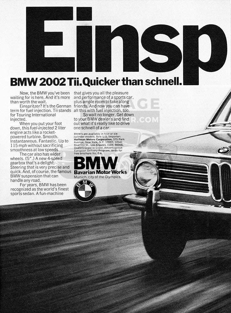 BMW Car Poster, 1972 BMW 2002 Tii , Vintage Ad Wall Art