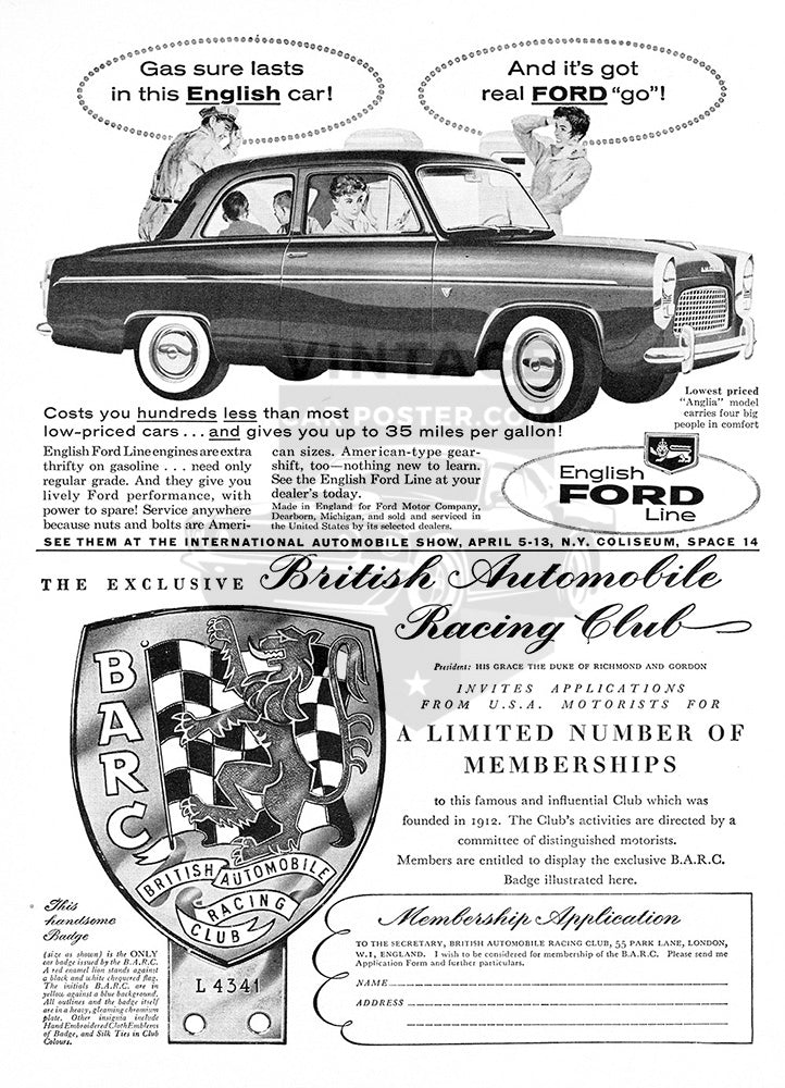 Ford Car Poster, 1958 Ford English Line, Vintage Ad Wall Art