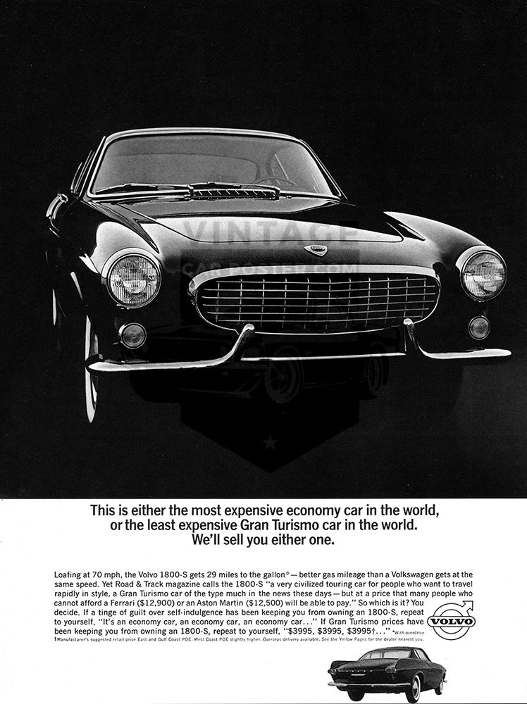 Volvo Car Poster, 1964 Volvo P1800, Vintage Ad Wall Art