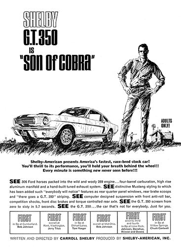 Ford Car Poster, 1965 Ford Mustang Shelby Cobra GT 350, Vintage Ad Wall Art