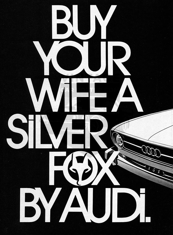 Audi Car Poster, 1973 Audi Fox , Vintage Ad Wall Art