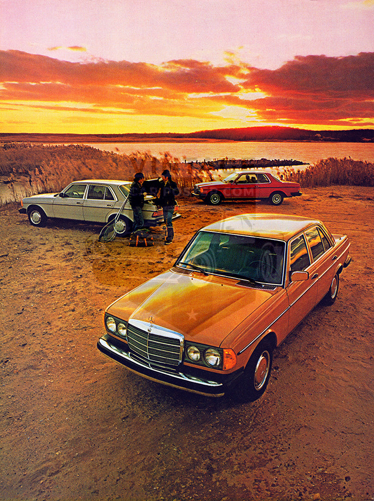 Mercedes Car Poster, 1978 Mercedes Benz 300D 240D 300CD , Vintage Ad Wall Art