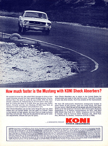 Ford Car Poster, 1965 Koni Shocks Ford Mustang, Vintage Ad Wall Art