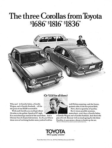 Toyota Car Poster, 1969 Toyota Corolla, Vintage Ad Wall Art