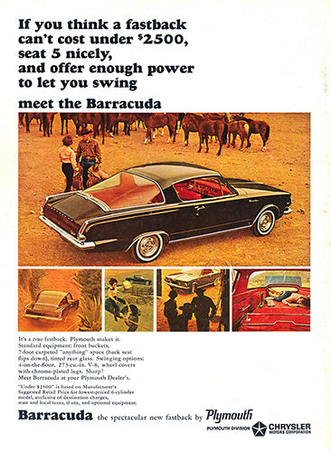 Plymouth Car Poster, 1964 Plymouth Chrysler Barracude, Vintage Ad Wall Art