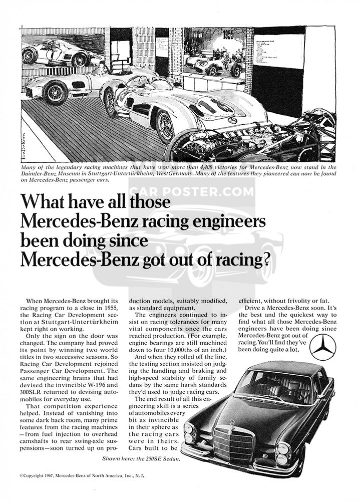 Mercedes Car Poster, 1968 Mercedes Benz 250SE Sedan, Vintage Ad Wall Art