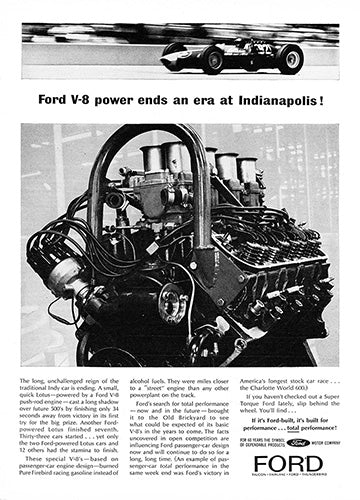 Ford Car Poster, 1963 Ford V8 Indianapolis, Vintage Ad Wall Art