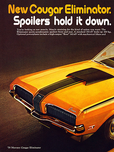 Ford Car Poster, 1970 Ford Mercury Cougar Eliminator , Vintage Ad Wall Art