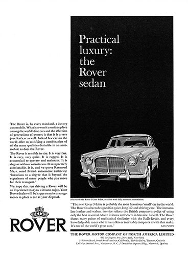 Rover Car Poster, 1962 Rover 3-Liter Sedan, Vintage Ad Wall Art